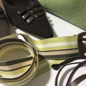 J Crew Leather And Corrugated Rayon Belt